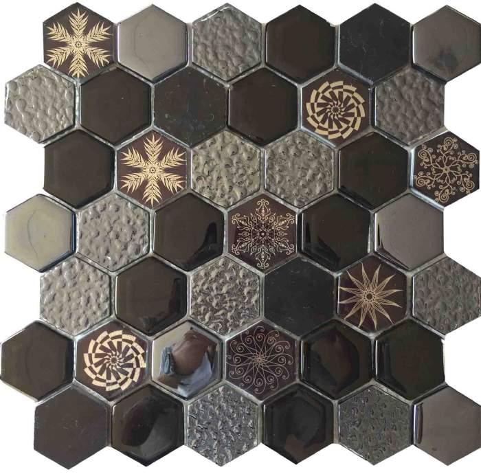 patrón de flores de color marrón diseño del mosaico del azulejo KSL ...
