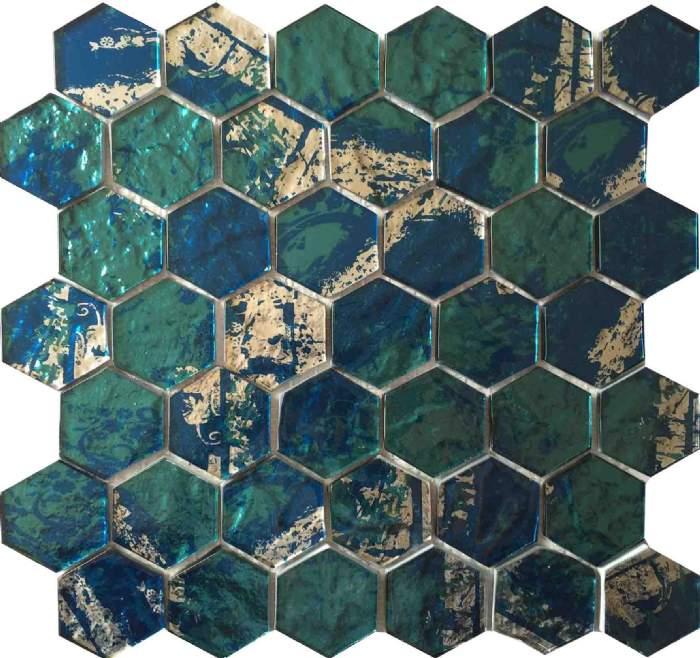 Dark Green Pentagon Mosaic Tile Ksl 16307