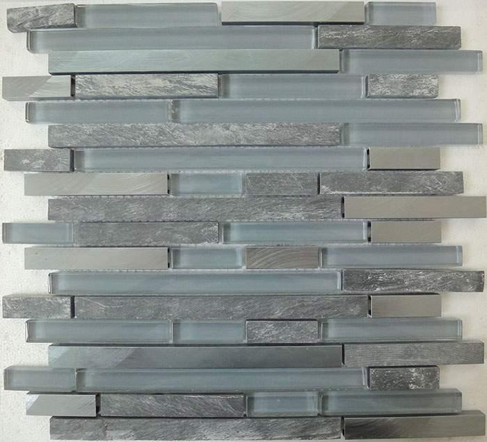 Stainless Steel Tile Slate Glass Mosaic Ksl 16567