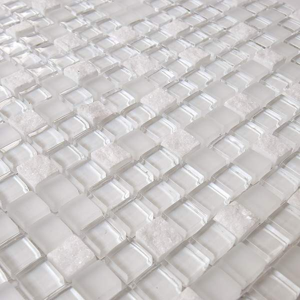 Pure White Marble Mix Glass Mosaic GM2101